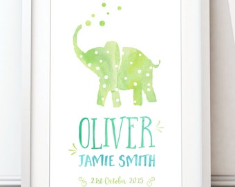 Personalised Baby Print, Birth Date Subway Art, Watercolour Print, Elephant Print, Newborn Boy gift, (A4 unframed)