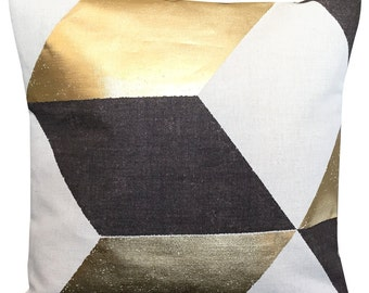 Pierre Frey Kubus Geometric Gold Cushion Cover