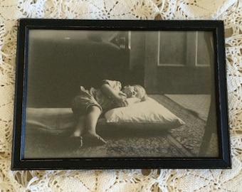 Vintage Framed Black and White Photo, Sleeping Boy, 1925