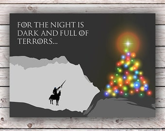Game of Thrones Printable Christmas Card For the Night is Dark and Full of Terrors White Walkers Holiday Christmas Tree GOT Digital Download