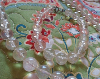Clear Resin Beaded Necklace & Bracelet Set, Vintage Jewelry