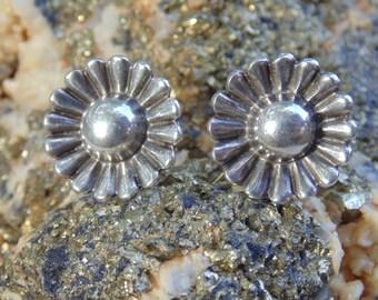 Sterling Silver Blooming Flower Screw Back Earrings