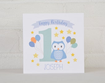 Little Owl Personalised 1st Birthday Card for a Boy, Personalised Birthday Card for a one year old, First Birthday Card, Custom Card