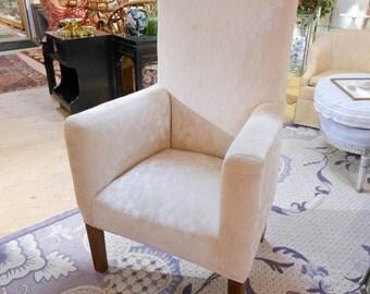 SALE Org 995.00 Mid century New Chenille Fabric  High-back Off  White Velvet Chair  47H x 28W x 26D