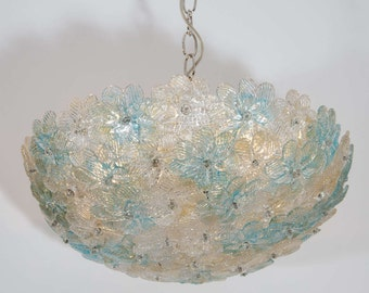 Murano glass ceiling chandelier with acquamare and gold flowers