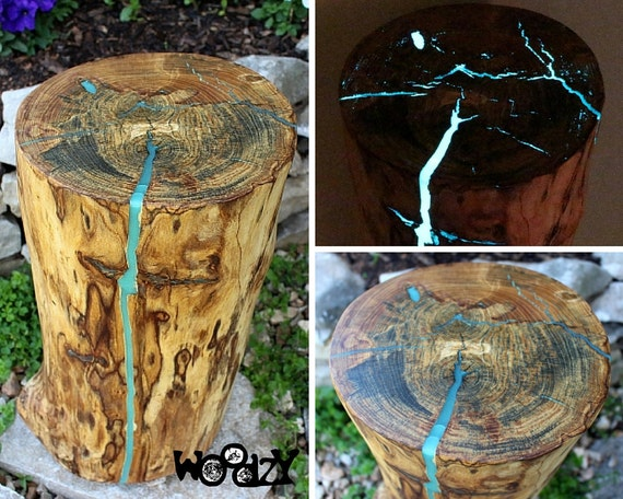 Stump Table Glow In The Dark Resin Reclaimed Wood