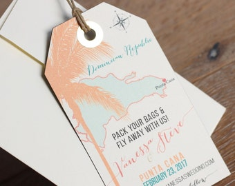 Wedding invitation Punta Cana Save the Date Magnet Luggage Tag Design Fee. Destination Wedding