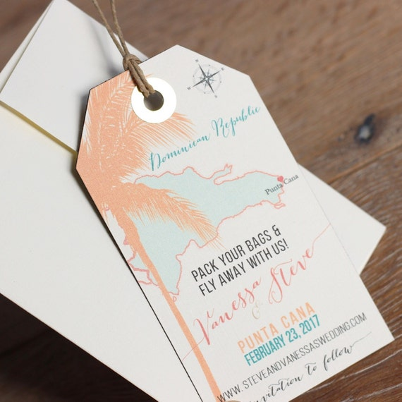 Wedding Invitation Punta Cana Save The Date Magnet Luggage Tag