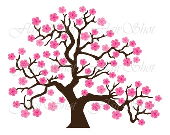 Digital Clip Art, Pink Cherry Blossom Tree Clipart, Bonsai Tree Clipart INSTANT DOWNLOAD