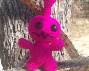 Pink crochet robot plushie