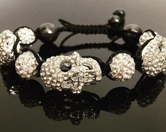 Skull shamballa bracelet macrame bling sparkle