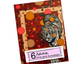 Red Tiger Note Cards - Wild Animal Cards - Blank Thank You Card - Set of Cards - Kids Greeting Cards - Wild Cat Stationery - Geometric Art