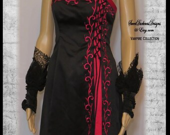 VAMPIRE DRESS Costume Devil Dress Dia de los Muertos Vampire Costume BLACK  and Red Dress Size 1 Size 2 Demon Dress by SweetDarknessDesigns