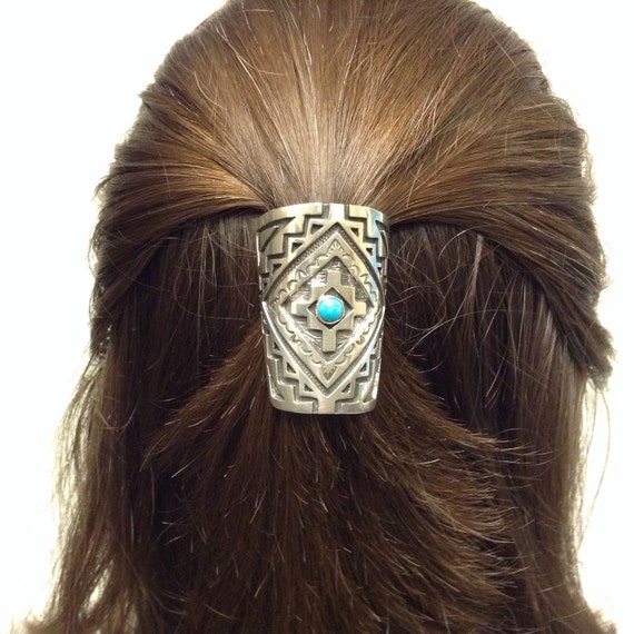 Native American Sterling Silver And Turquoise Ponytail Cover