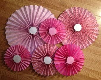 Paper Fans-PINK 6 pc set