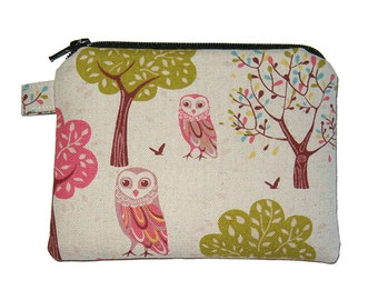 Forest Owl Zipper Coin Purse - Owl Padded Pouch - Owl Zipper Pouch - Small Coin Purse - Owl Purse - Kawaii Purse - Girl's Purse