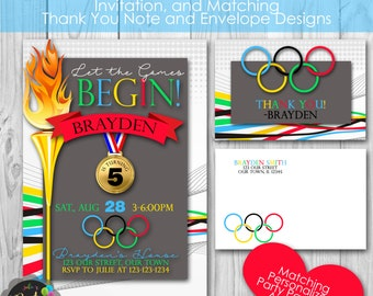 Olympic Birthday Party, Personalized Printable Invitation, and Thank You Note, Envelopes, Banner and Welcome Sign