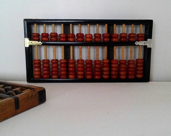 Vintage Chinese Abacus, Lotus Flower Brand.