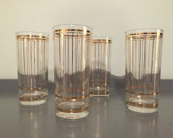 """Four Culver """"Devon"""" High Ball Glasses / Tumblers with 22K Gold Pinstripes"""