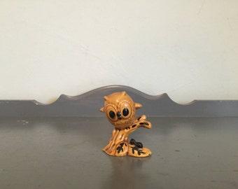 50% SALE *** Small Ceramic Owl on Branch Figurine
