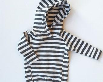 Newborn Gray Striped Hoodie Sweater / Baby Sweatshirt / Baby Boy Hoodie / Baby Girl Hoodie