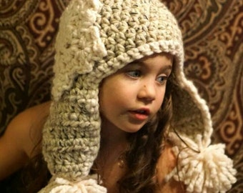 Crochet Snowflake Beanie with earflaps