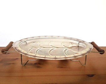 Vintage warming stand inland glass dish oval serving tray wood handles