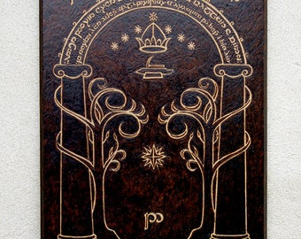 Moria The Lord of the Rings inspired Doors of Durin pyrography art