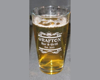 Engraved Pint Glass, Personalized Pint Glass, Custom Beer Glass, Engraved Beer Glass, Handmade, 20oz Pint Glass, Home Bar Glasses