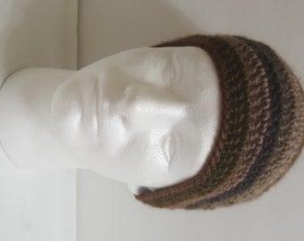 Men's Crochet Slouchy Beanie Hat, Slouchy Crochet Hat, Oversized Slouchy Beanie, Chunky Hat, Men's Winter Hat Multi-Brown