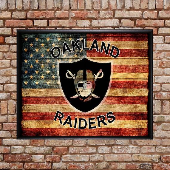 Man Cave Oakland : Oakland raiders poster us flag decor man cave