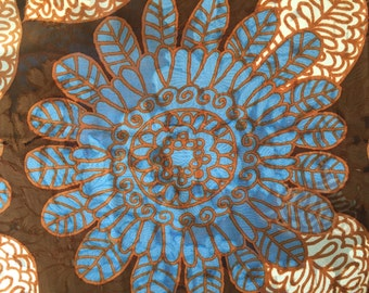 """2000s Tory Burch Designer Fashion Fashion Fabric 2 yards yd x 45"""" Blue Floral Brown Leaves Angel Textiles Woven Print Flowers"""