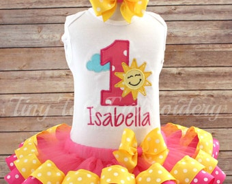 You Are My Sunshine Birthday Tutu Outfit ~ You Are My Sunshine on a Cloudy Day Outfit ~ Includes Top, Ribbon Tutu and Hair Bow