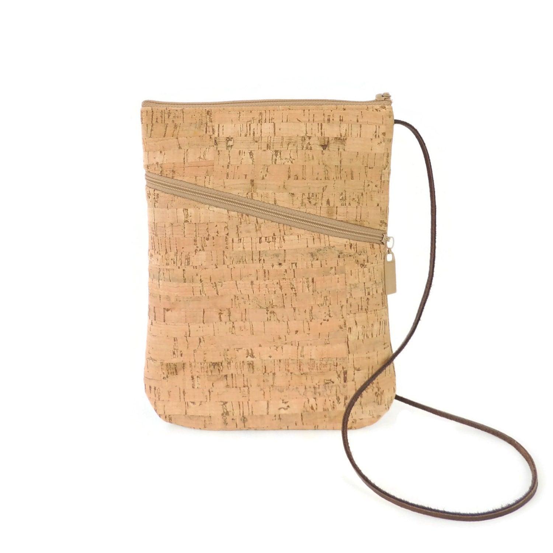 Cork Handbags: Cork Crossbody Bag Zippered Cork Purse Handbag Crossbody