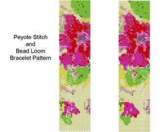 Peyote Stitch or Bead Loom Bracelet PATTERN - Pink Flowers on Yellow