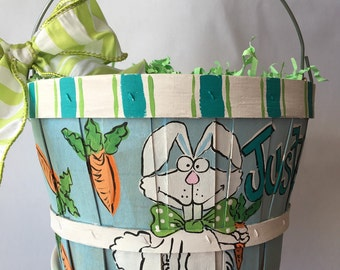 Easter Basket | Easter egg basket | boy easter basket | easter bunny basket | hand painted easter basket | personalized easter basket