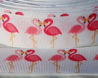 Flamingo 1 Inch Grosgrain Ribbon by the Yard for Hairbows, Scrapbooking, and More!!
