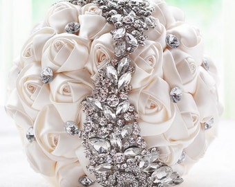 Ivory Bridal Bouquet - Roses Pearls Crystals