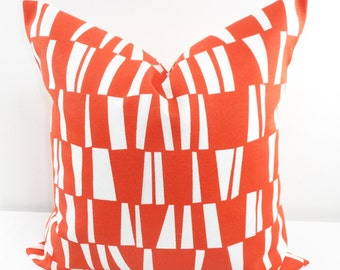 ORANGE Pillow. Outdoor Indoor Pillow cover. Orange and White.1 piece.  Stain dirt resistant. Cushion Cover. Select your size