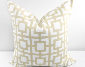 BEIGE Pillow. Outdoor Indoor Pillow cover. Sand and White.1 piece.  Stain dirt resistant. Cushion Cover. Select your size