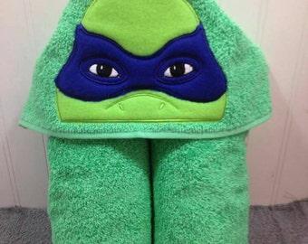 Blue Ninja Hero Hooded Towel