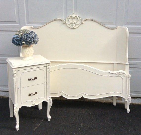 Painted full size bed with matching nightstand french painted for Matching bed and dresser