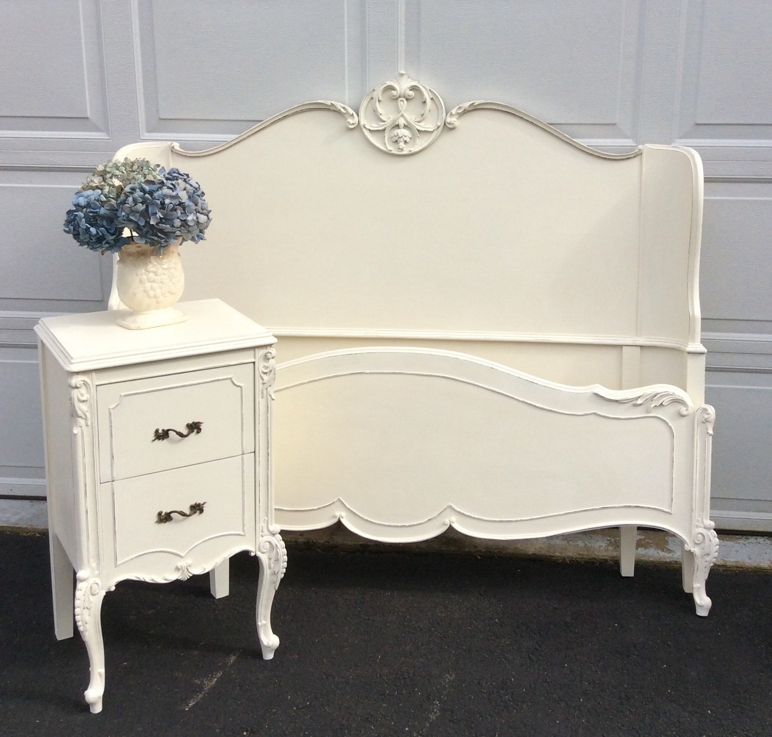 Painted Full Size Bed With Matching Nightstand French Painted
