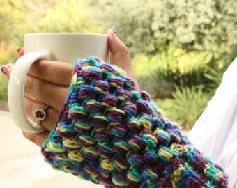Blueberry Handwarmers Crochet Handmade