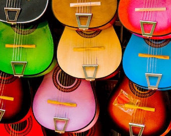 Colorful Guitars Photography Print or Wrapped Canvas Olvera Street Los Angeles Fine Art Photograph Wall Art Decor