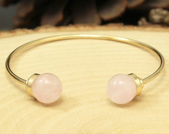 Rose Quartz Bracelet, Gold Rose Quartz Bracelet, Rose Quartz Cuff Bracelet, Rose Quartz Gemstone Bracelet, Rose Quartz Stone Boho Bracelet