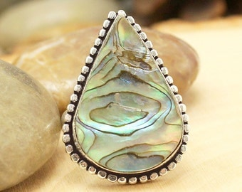 Abalone Shell Ring Sz 9, Silver Abalone Shell Ring, Statement Ring, Crystal Ring, Gemstone Ring, Boho Ring, Shell Ring