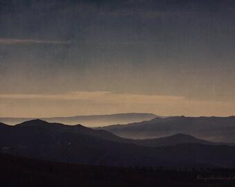 Mountain photography, landscape photography, fog, mist, mountain range, blue, moody nature photography, fine art print, wall art, home decor