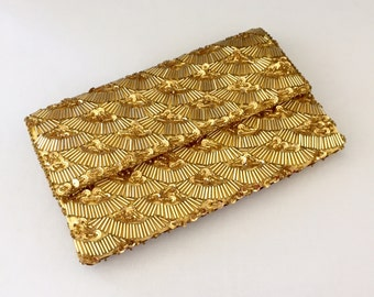Vintage Gold Metallic Beaded Satin Clutch with Gold Sequins, Evening Bag, Wedding, Prom, Bride, Mother of the Bride