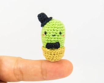 Cactus Miniature - Micro Amigurumi Cactus - Miniature Crochet Cactus - Dollhouse Miniature Cactus - Cactus Gift - Stuffed Cactus